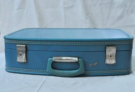 Vintage Travel Joy Blue Suitcase