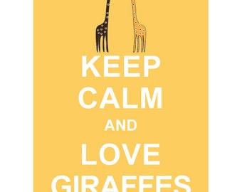 Keep Calm and Love Giraffes :  Wedding Birthday Anniversary Gift Children Decor Kids Room Home Decor Kitchen Art