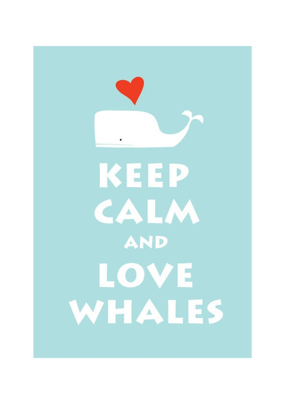 Keep Calm and Love Whale  : Personalized color Wedding Birthday Anniversary Children Decor Kids Decor
