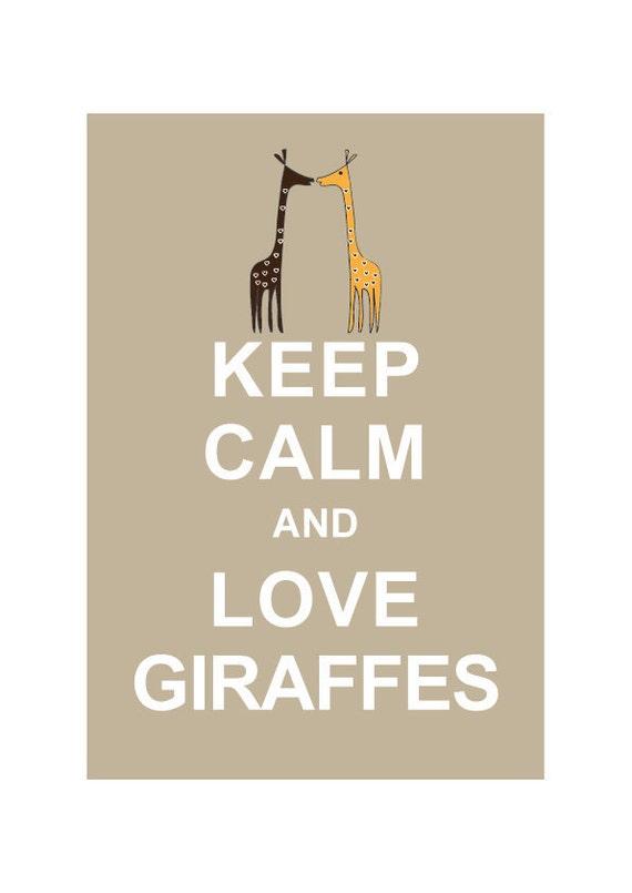 Keep Calm and Love Giraffes - Typographic Print, Personalized Birthday Gift, Children room, Kids Room, Home Decor, Wall Decor, Baby Nursery