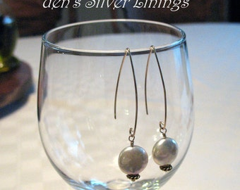 Cream Freshwater Coin Pearl Earrings on Hand-Forged 14K Gold-Filled Artisan Ear Wires
