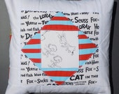 Quilted Pillow Cover using Dr. Seuss Fabric