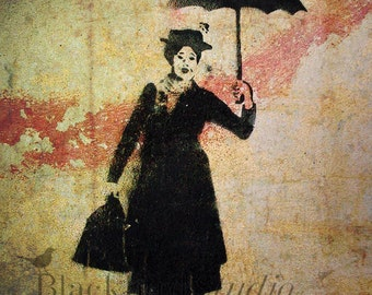 Mary Poppins Stencil Street Art , London  Fine Art Photograph 5 x 5 inches limited edition print