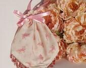 Rusty Rose Butterflies, Beaded Drawstring Wristlet, Bridesmaid Handbag