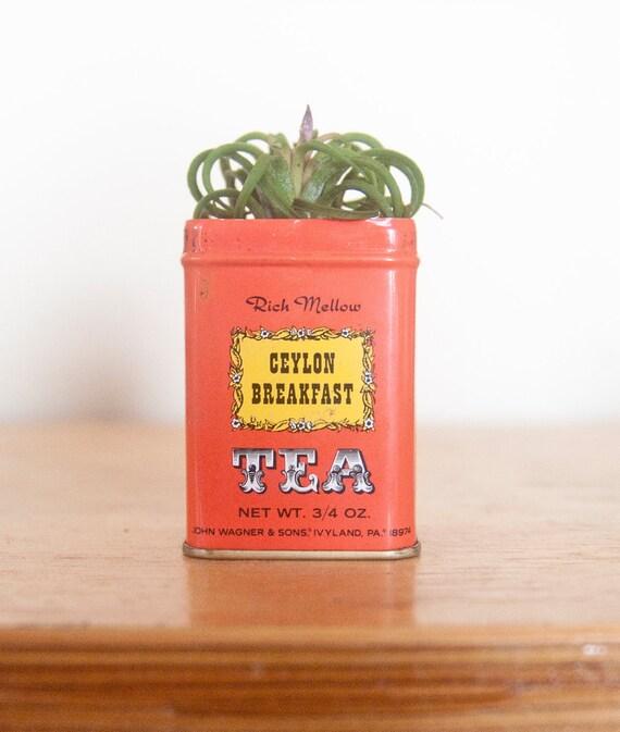 Vintage Mini Tea Tin Coral & Yellow Planter Ceylon Breakfast
