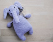 Handmade Knit Elephant with Bow
