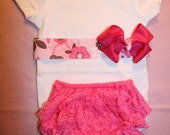 Baby Outfit Onesie -with Pink Floral Ribbon Pink Boutique Bow  & Pink Diaper Cover