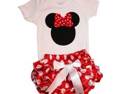 Minnie Mouse Baby Girl Outfit Onesie and Matching Ruffle Diaper Cover