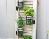 Set of 2 Recycled Shutter Mason Jar Herb Garden