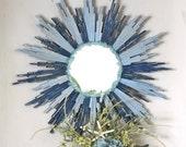 Beach Blue Sunburst Mirror