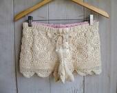 Ecru Lace-Up Crochet Midrise Shorts--Small