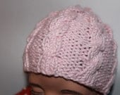 Preemie Hat -  Cable Knit Hat - Newborn Baby Hat - Pink