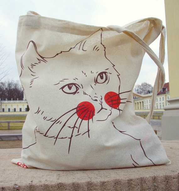 "Eco Cotton Tote Bag ""Miszka the cat"""