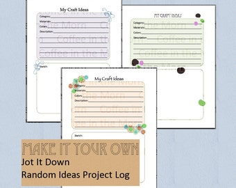Etsy Craft Log Idea Journal Sketch Etsy Project Planner PDF Printable Instant Download