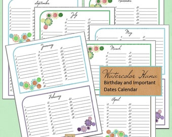 Birthday and Important Dates Calendar Planner Printable PDF Download - Watercolor Hana