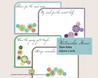Baby Shower Advice Cards for New Baby New Mom digital download printable