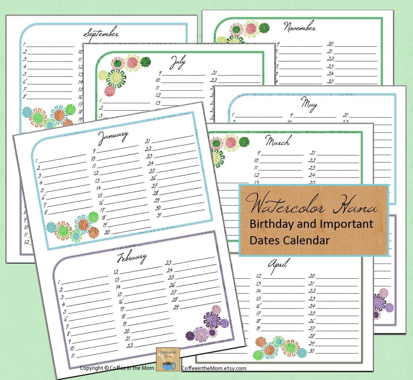 Birthday Calendar Printable Birthday and important dates calendar ...