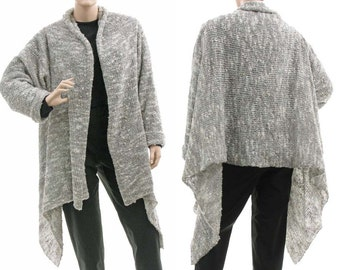 Grey knitted sweater wrap, grey wool mix sweater cardi wrap full front open, lagenlook sweater medium to plus size women M-L, US size 10-14