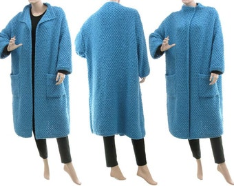 Hand knitted blue sweater coat, luxurious oversized sweater coat with cashmere, hand knitted soft sweater coat plus size M-XXL US size 12-22