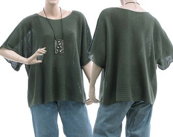 Oversized knitted sweater, overlay top, wrap, merino wool in green-grey / lagenlook for medium to plus size women M-XL, US size 8-18