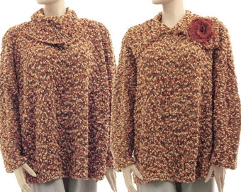 Brown knitted winter sweater with large collar, merino wool sweater, lagenlook brown sweater medium to plus size women M-L, US size 10-16
