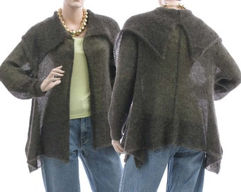 Knitted sweater cardi wrap in brown grey, knit kid mohair sweater open front / lagenlook sweater for small to medium size S-M, US size 6-10