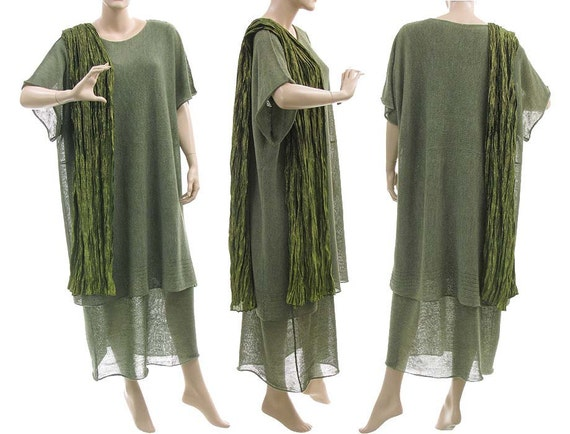 Large knitted sweater, tunic, top with sleeveless maxi dress - lagenlook for plus sizes women - green