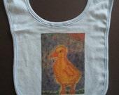 Organic Baby Bib (Light Blue) with Original Animal Art (Duck) by Pippa Scott