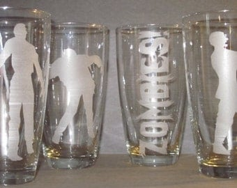 Set of 4 Etched Zombie Drinking Glasses