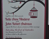 RESERVED FOR CAITLIN Birdcage Wedding Invitation Pocketfold  Love Birds