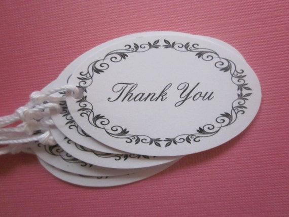WEDDING / BRIDAL / Thank You tags / all occasion / set of 8 oval hang tags