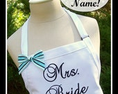 """Wedding Apron, Bride Apron, """"Mrs."""" Personalized with Bride's New Married Name - Reception Cake Cutting, Wedding White, Shower Gift"""