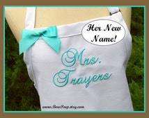 """Wedding Apron, """"Mrs."""" with Bride's New Married Name! Personalized bride shower gift, White, Beach Island Colors, Ocean, Blue Aqua"""