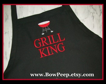 """Personalized Extra Large """"BBQ Grill King"""" Mens Apron - XL Tall Size Big Mens Aprons, Grilling Aprons, Large Size Aprons, Mens BBQ Aprons"""