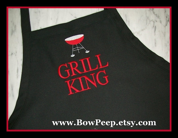 BBQ Grill King Mens Gourmet Apron - Boys Chefs Cooking Gift Idea Kitchen Bakers Adjustable Black Red Blue Grey Gray Male Grilling