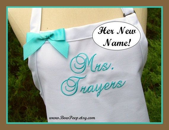 "Wedding Apron, ""Mrs."" with Bride's New Married Name! Personalized bride shower gift, White, Beach Island Colors, Ocean, Blue Aqua"