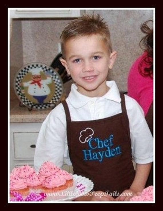 Personalized Boys Apron with Chef Hat and Name - Baking Kids Aprons, Unisex kids aprons, Daddy and Me Aprons, Father Son Aprons, Brown