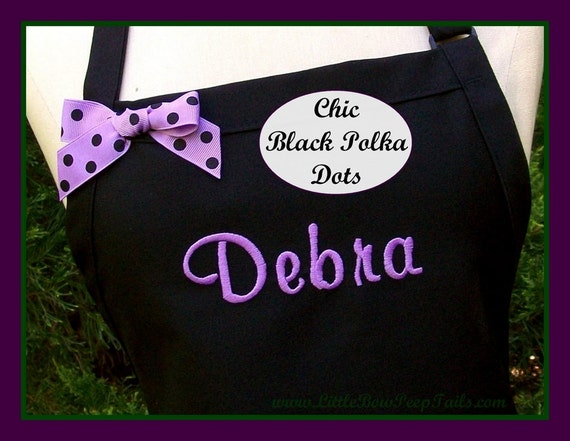 Personalized Name Apron with BLACK POLKA DOT Bow - Monogrammed Chefs KItchen Party Parties with Pockets Purple Hot Pink Orange Yellow Blue