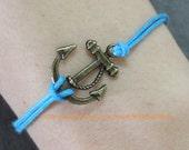 Charm bracelet Jewelry Bracele Blue  rope Bracelet Antique Bronze Anchor Bracelet Cuff Wish Bracelet