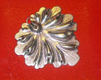Large Silver Leaf Metal Pendant