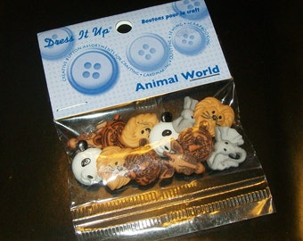 Wild Animals Buttons, Animal Buttons, Zoo Animal Buttons