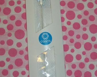16 inch Polyester All-Purpose Zipper 1 White, White Zipper