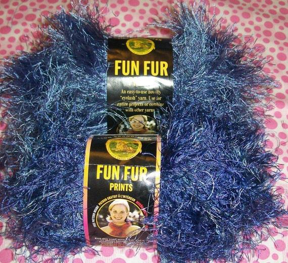2 Indigo Fun Fur, Blue Fun Fur, Blue Knitting