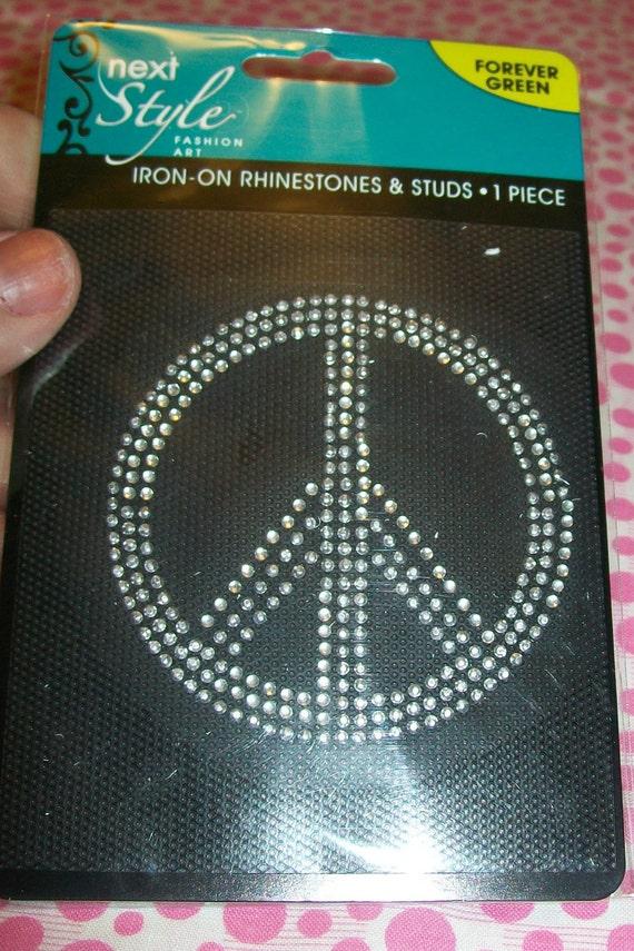 Iron-On Rhinestones and Studs Peace Sign