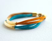 Harbor Bracelet - Turquoise/Orange/Leather Suede/Brass/Simple/Magnetic Clasp