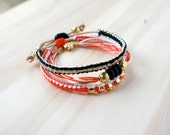 Special Price/Bracelet Stack/Red/Black//White/Brass/Leather/Tagua Nut/Simple