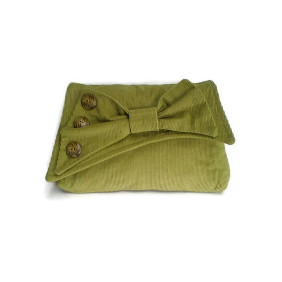 Vintage Inspired Clutch Bag 1930's Clutch Lime Green British Corduroy Asymmetrical Flap with Bow Purse Bag 1930s Style