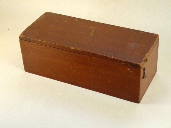 Vintage Solid Mahogany  Artist Pencil Case Desk Storage Box