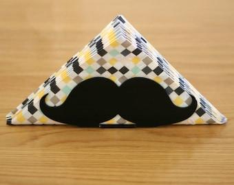 Mustache party, black napkin holder, mustache gift, hipster decor, moustache, gift for boyfriend, gift for him, kitchen, tabletop