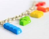 Rainbow Tetris Charm Bracelet, Heart Toggle Clasp Rhodium Chain